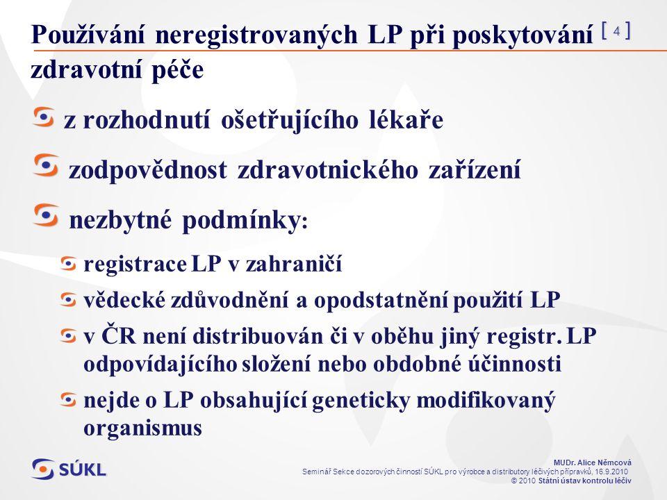 [ 4 ] MUDr. Alice Němcová Seminář Sekce dozorových činností SÚKL pro výrobce a distributory léčivých přípravků, 16.9.2010 © 2010 Státní ústav kontrolu