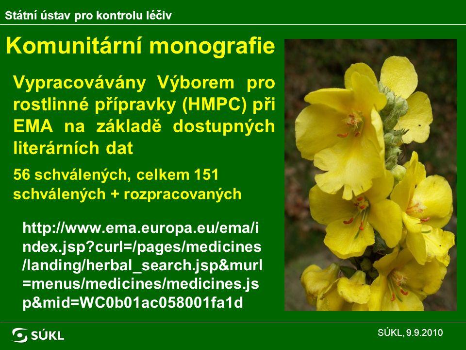 Komunitární monografie Vypracovávány Výborem pro rostlinné přípravky (HMPC) při EMA na základě dostupných literárních dat 56 schválených, celkem 151 schválených + rozpracovaných http://www.ema.europa.eu/ema/i ndex.jsp?curl=/pages/medicines /landing/herbal_search.jsp&murl =menus/medicines/medicines.js p&mid=WC0b01ac058001fa1d Státní ústav pro kontrolu léčiv SÚKL, 9.9.2010