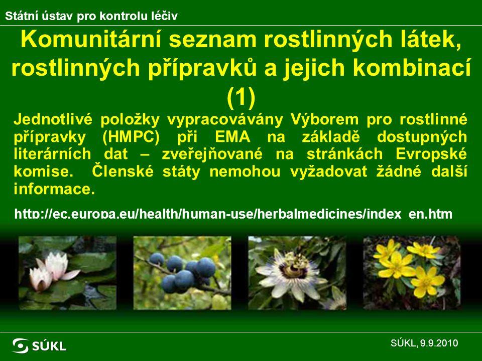 Komunitární seznam rostlinných látek, rostlinných přípravků a jejich kombinací (1) Jednotlivé položky vypracovávány Výborem pro rostlinné přípravky (HMPC) při EMA na základě dostupných literárních dat – zveřejňované na stránkách Evropské komise.