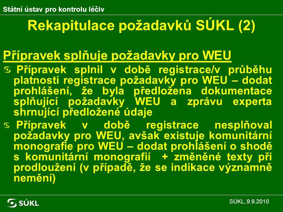 Rekapitulace požadavků SÚKL (2) Přípravek splňuje požadavky pro WEU Přípravek splnil v době registrace/v průběhu platnosti registrace požadavky pro WEU – dodat prohlášení, že byla předložena dokumentace splňující požadavky WEU a zprávu experta shrnující předložené údaje Přípravek v době registrace nesplňoval požadavky pro WEU, avšak existuje komunitární monografie pro WEU – dodat prohlášení o shodě s komunitární monografií + změněné texty při prodloužení (v případě, že se indikace významně nemění) Státní ústav pro kontrolu léčiv SÚKL, 9.9.2010