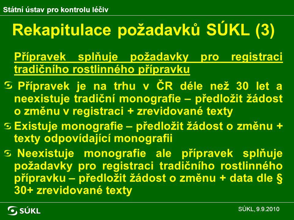 Rekapitulace požadavků SÚKL (3) Přípravek splňuje požadavky pro registraci tradičního rostlinného přípravku Přípravek je na trhu v ČR déle než 30 let a neexistuje tradiční monografie – předložit žádost o změnu v registraci + zrevidované texty Existuje monografie – předložit žádost o změnu + texty odpovídající monografii Neexistuje monografie ale přípravek splňuje požadavky pro registraci tradičního rostlinného přípravku – předložit žádost o změnu + data dle § 30+ zrevidované texty Státní ústav pro kontrolu léčiv SÚKL, 9.9.2010