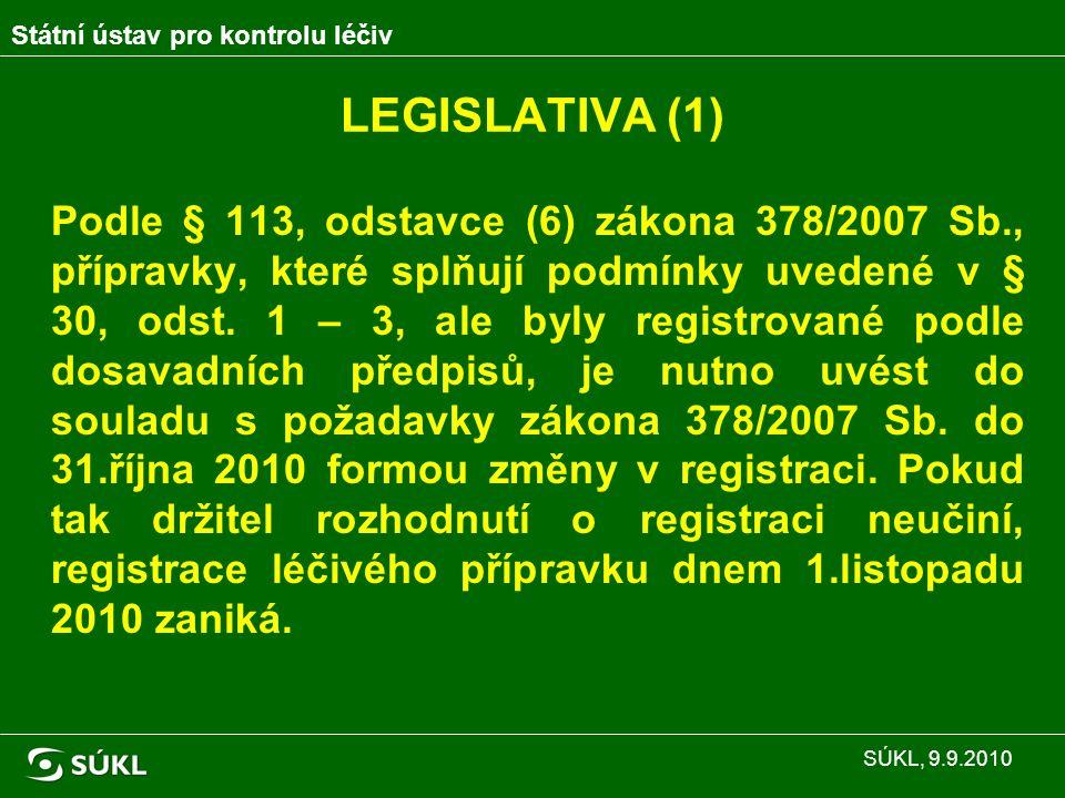 Rekapitulace požadavků SÚKL (6): Přípravek splňuje požadavky pro registraci tradičních rostlinných přípravků, ale nebyla předložena žádost o změnu v registraci do 31.10.2010 – registrace ze zákona zaniká Homeopatický přípravek zaregistrovaný jako rostlinný, tj.