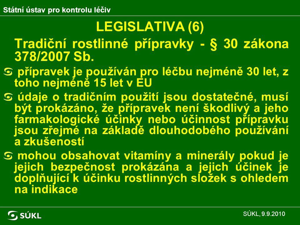 Shrnutí současné situace (2): Státní ústav pro kontrolu léčiv SÚKL, 9.9.2010 Z toho předloženo doplnění u32 Podáno změn II na tradiční17 Podáno doplnění literární/vlastní data15 Nedoplněno u99 Zanikne, pokud u nich nebude do 31.10.2010 podána změna typu II na tradiční 58 Nemá spotřeby3 Situace k 7.9.2010