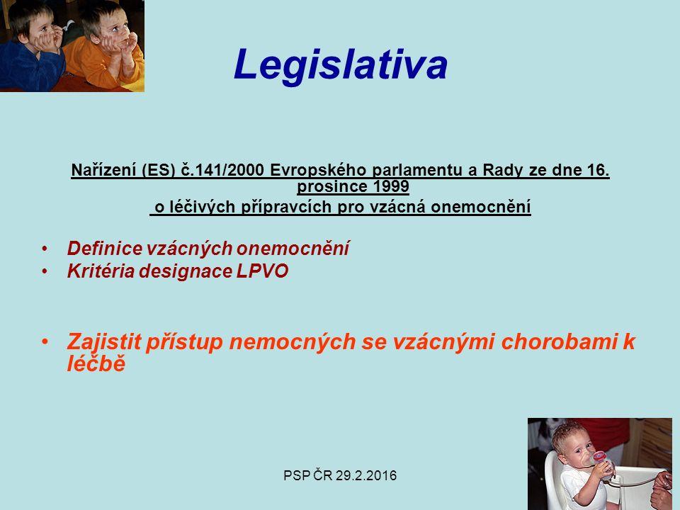 PSP ČR 29.2.2016 Legislativa Nařízení (ES) č.141/2000 Evropského parlamentu a Rady ze dne 16.