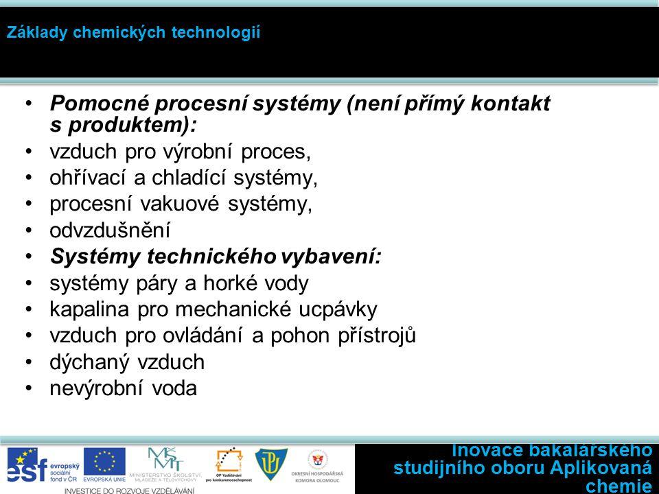 Inovace bakalářského studijního oboru Aplikovaná chemie Základy chemických technologií Pomocné procesní systémy (není přímý kontakt s produktem): vzduch pro výrobní proces, ohřívací a chladící systémy, procesní vakuové systémy, odvzdušnění Systémy technického vybavení: systémy páry a horké vody kapalina pro mechanické ucpávky vzduch pro ovládání a pohon přístrojů dýchaný vzduch nevýrobní voda