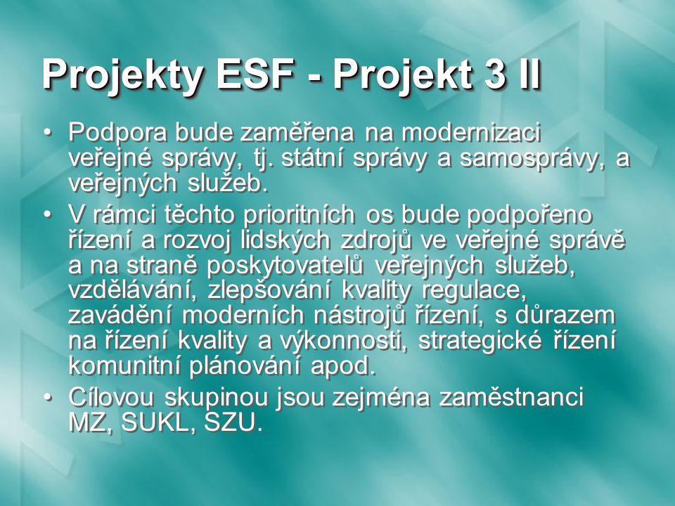 Projekty ESF - Projekt 3 II Podpora bude zaměřena na modernizaci veřejné správy, tj.