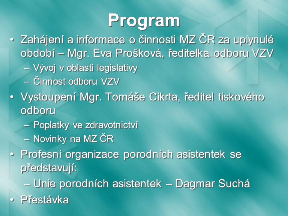 Program Zahájení a informace o činnosti MZ ČR za uplynulé období – Mgr.