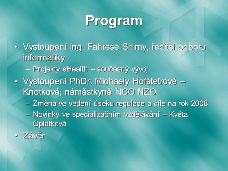 Program Vystoupení Ing.