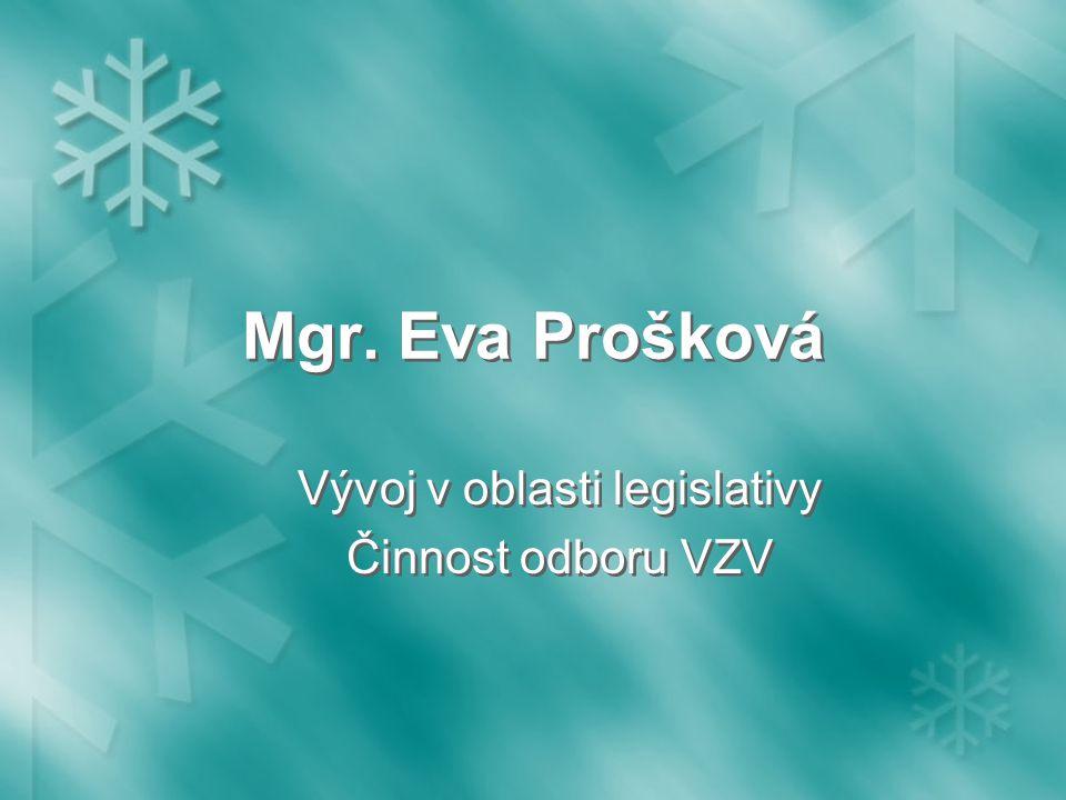 Mgr. Eva Prošková Vývoj v oblasti legislativy Činnost odboru VZV Vývoj v oblasti legislativy Činnost odboru VZV