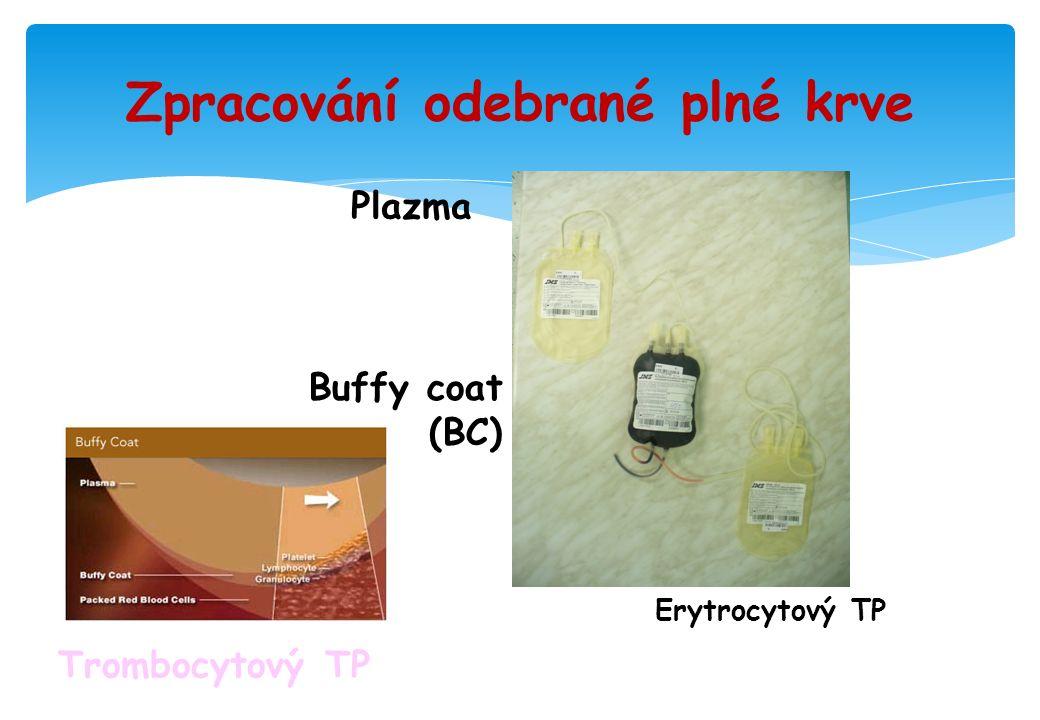 Zpracování odebrané plné krve Erytrocytový TP Plazma Buffy coat (BC) Trombocytový TP