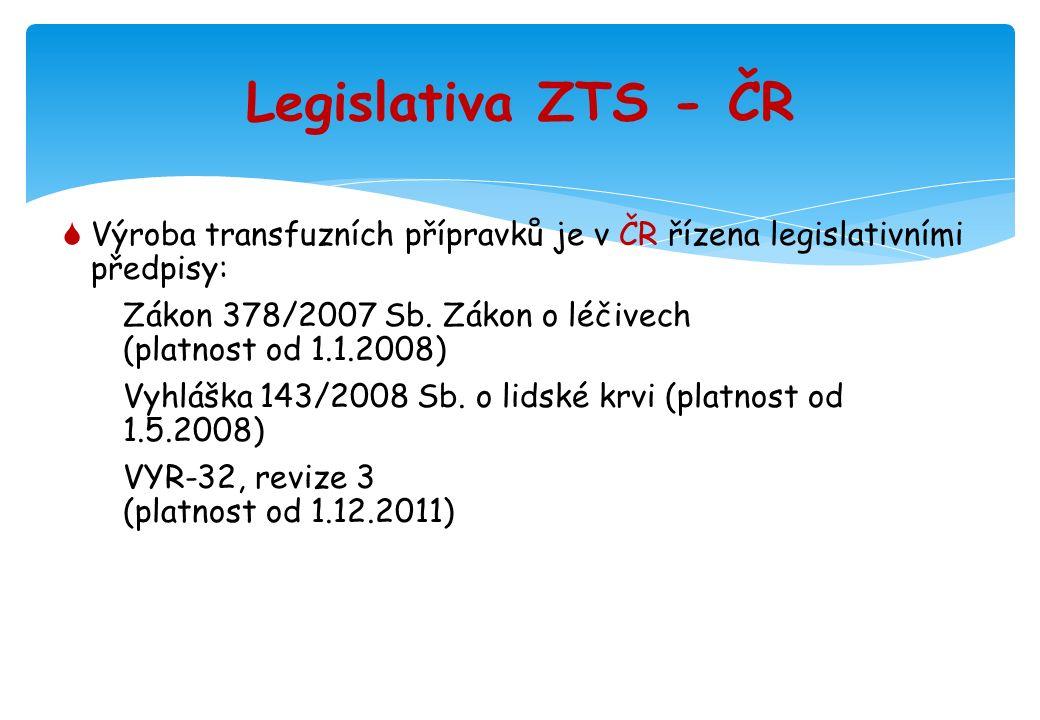 Dohled státní autority  Výrobu transfuzních přípravků je možné provádět v ZTS po získání Rozhodnutí o povolení k výrobě léčiv  Vydává Státní ústav pro kontrolu léčiv (SÚKL) Praha  Provádí pravidelné kontroly činnosti – audity (2-letý interval)  Pokyny SÚKL