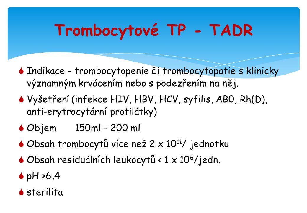 Trombocytové TP - TADR  Indikace - trombocytopenie či trombocytopatie s klinicky významným krvácením nebo s podezřením na něj.