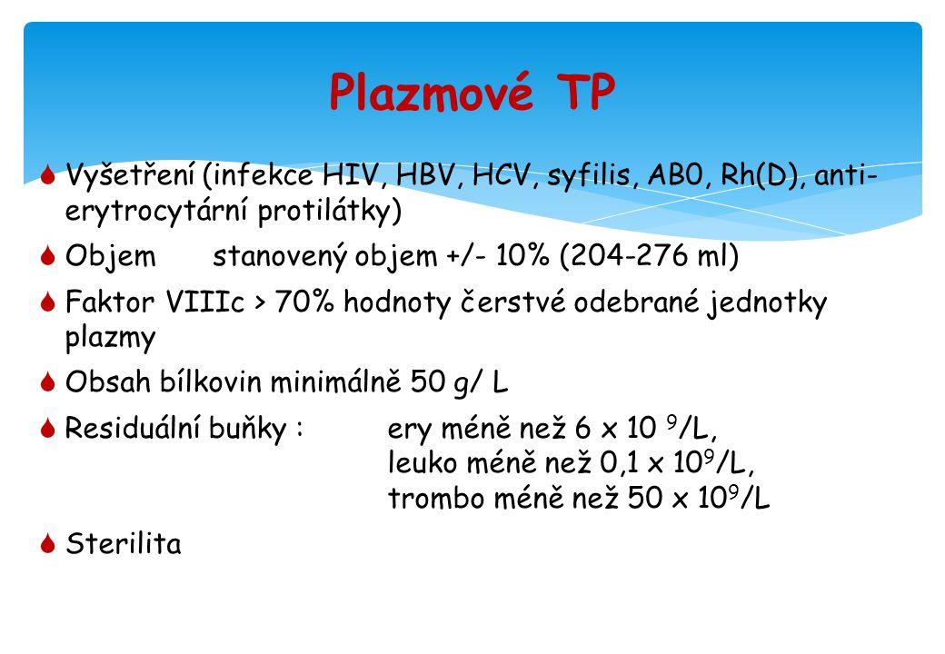 Plazmové TP  Vyšetření (infekce HIV, HBV, HCV, syfilis, AB0, Rh(D), anti- erytrocytární protilátky)  Objemstanovený objem +/- 10% (204-276 ml)  Faktor VIIIc > 70% hodnoty čerstvé odebrané jednotky plazmy  Obsah bílkovin minimálně 50 g/ L  Residuální buňky : ery méně než 6 x 10 9 /L, leuko méně než 0,1 x 10 9 /L, trombo méně než 50 x 10 9 /L  Sterilita