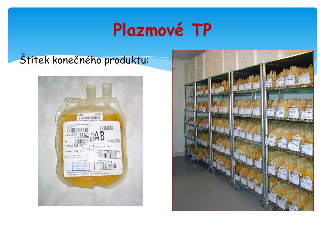 Plazmové TP Štítek konečného produktu: