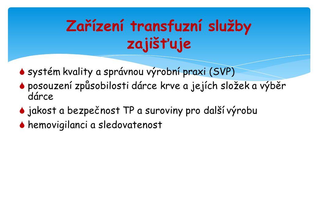 Zařízení transfuzní služby zajišťuje  systém kvality a správnou výrobní praxi (SVP)  posouzení způsobilosti dárce krve a jejích složek a výběr dárce  jakost a bezpečnost TP a suroviny pro další výrobu  hemovigilanci a sledovatenost