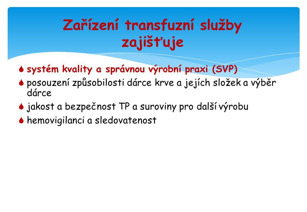 Systém kvality a správná výrobní praxe  v ZTS uplatněny v rozsahu, který odpovídá činnostem zařízení transfuzní služby nebo krevní banky  platí i pro krev, její složky, transfuzní přípravky a surovinu pro další výrobu (i dodané ze zahraničí)