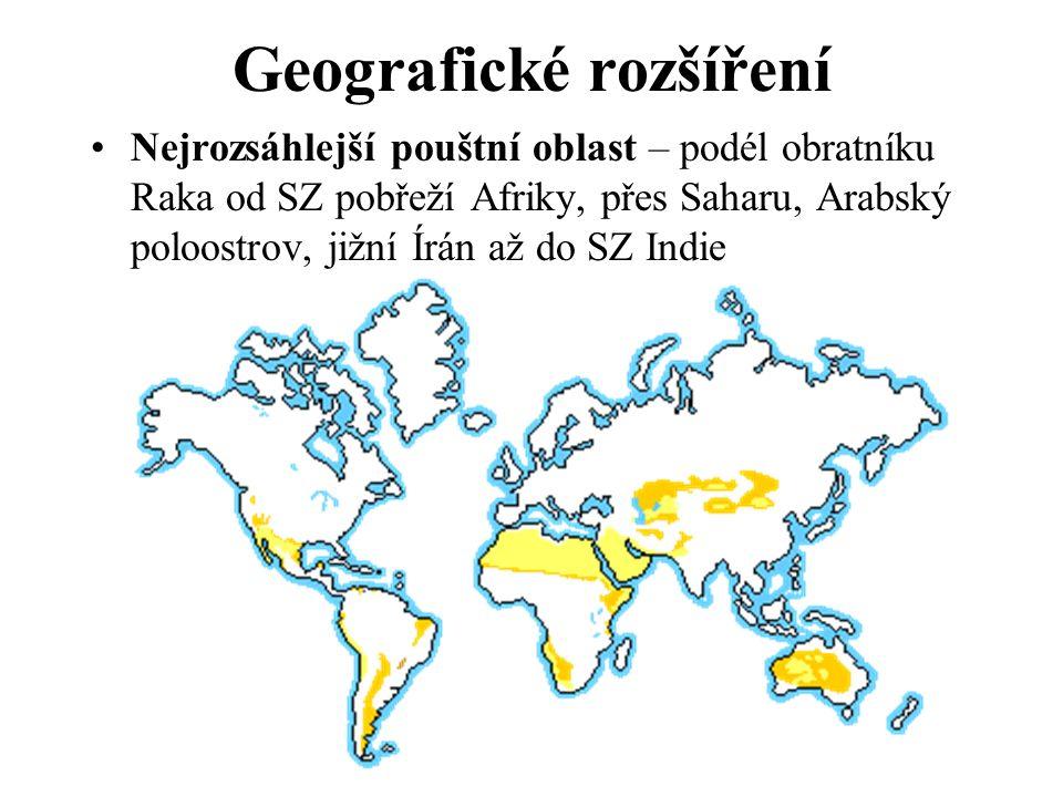 Geografické rozšíření Nejrozsáhlejší pouštní oblast – podél obratníku Raka od SZ pobřeží Afriky, přes Saharu, Arabský poloostrov, jižní Írán až do SZ Indie