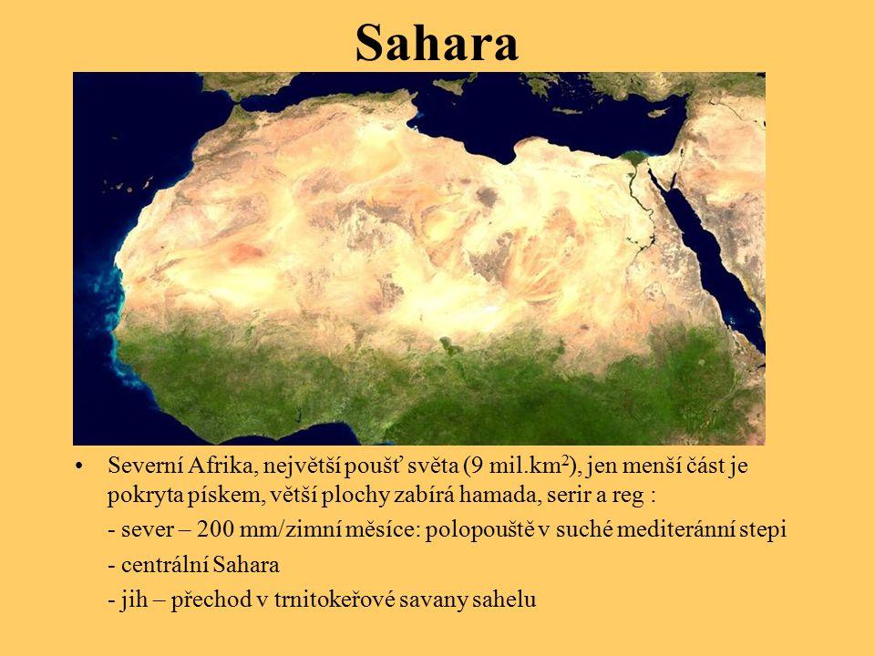 Sahara Severní Afrika, největší poušť světa (9 mil.km 2 ), jen menší část je pokryta pískem, větší plochy zabírá hamada, serir a reg : - sever – 200 mm/zimní měsíce: polopouště v suché mediteránní stepi - centrální Sahara - jih – přechod v trnitokeřové savany sahelu
