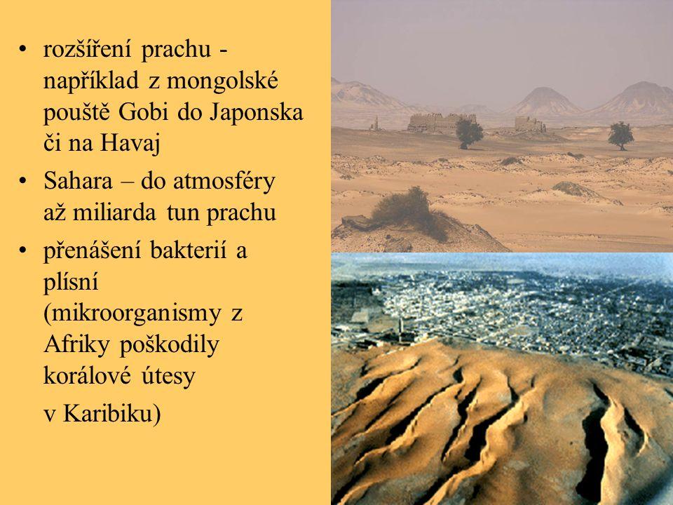 rozšíření prachu - například z mongolské pouště Gobi do Japonska či na Havaj Sahara – do atmosféry až miliarda tun prachu přenášení bakterií a plísní (mikroorganismy z Afriky poškodily korálové útesy v Karibiku)
