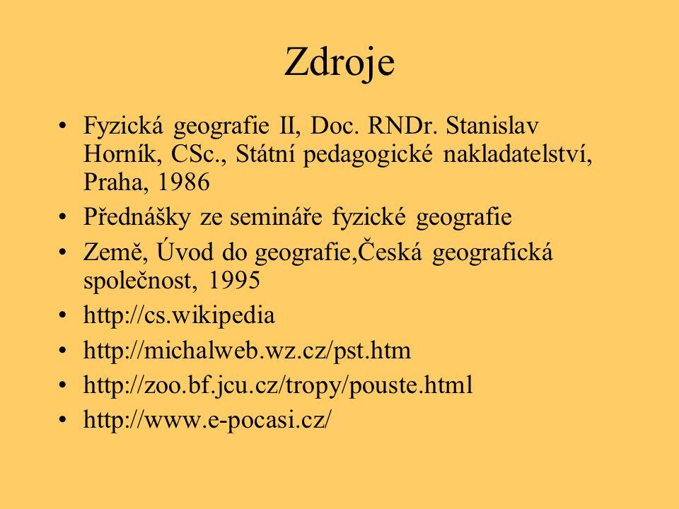 Zdroje Fyzická geografie II, Doc.RNDr.