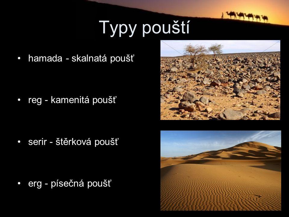 Typy pouští hamada - skalnatá poušť reg - kamenitá poušť serir - štěrková poušť erg - písečná poušť