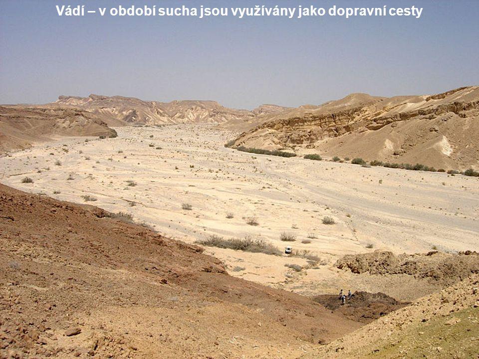 Vádí – v období sucha jsou využívány jako dopravní cesty