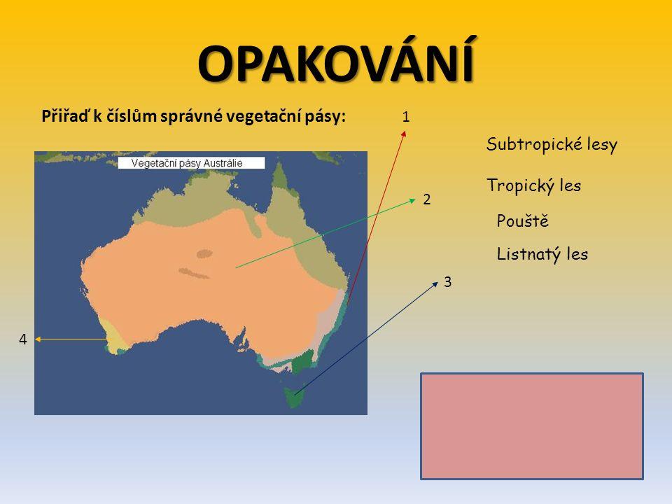 Řešení: 1 - Tropický les 2 - Pouště 3 - Listnatý les 4 - Subtropický les OPAKOVÁNÍ Přiřaď k číslům správné vegetační pásy: 1 2 3 4 Subtropické lesy Tr