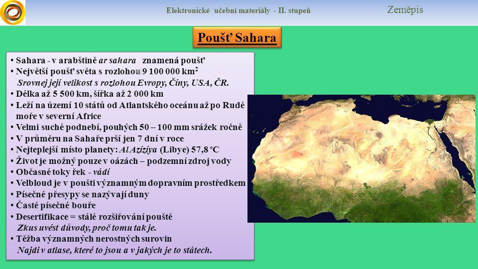 Elektronické učební materiály - II. stupeň Zeměpis Co již známe? Vysvětli význam jednotlivých pojmů a jak souvisí s oblastmi Sahary a Sahelu. Nil Trop