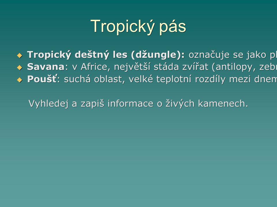 Tropický pás  Tropický deštný les (džungle): označuje se jako plíce světa, rozprostírá se kolem rovníku, podnebí se v něm v průběhu roku příliš nemění, je to nejbohatší a nejpestřejší společenství zvířat a rostlin  Savana: v Africe, největší stáda zvířat (antilopy, zebry, sloni,…), travnaté pláně  Poušť: suchá oblast, velké teplotní rozdíly mezi dnem a nocí, Sahara, živé kameny, v důsledku nadměrného spásání a kácení vegetace se plocha pouště každoročně zvětšuje Vyhledej a zapiš informace o živých kamenech.
