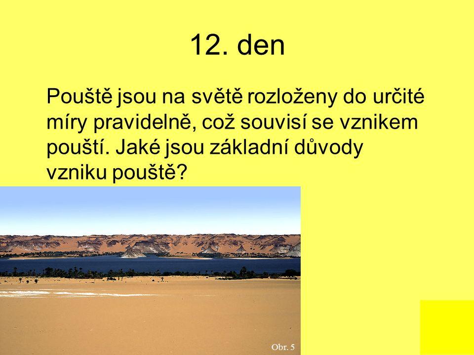 12. den Pouště jsou na světě rozloženy do určité míry pravidelně, což souvisí se vznikem pouští. Jaké jsou základní důvody vzniku pouště? Obr. 5