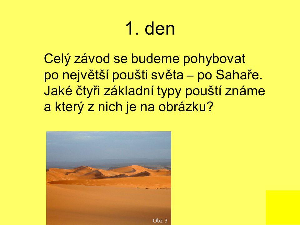 1. den Celý závod se budeme pohybovat po největší poušti světa – po Sahaře. Jaké čtyři základní typy pouští známe a který z nich je na obrázku? Obr. 3