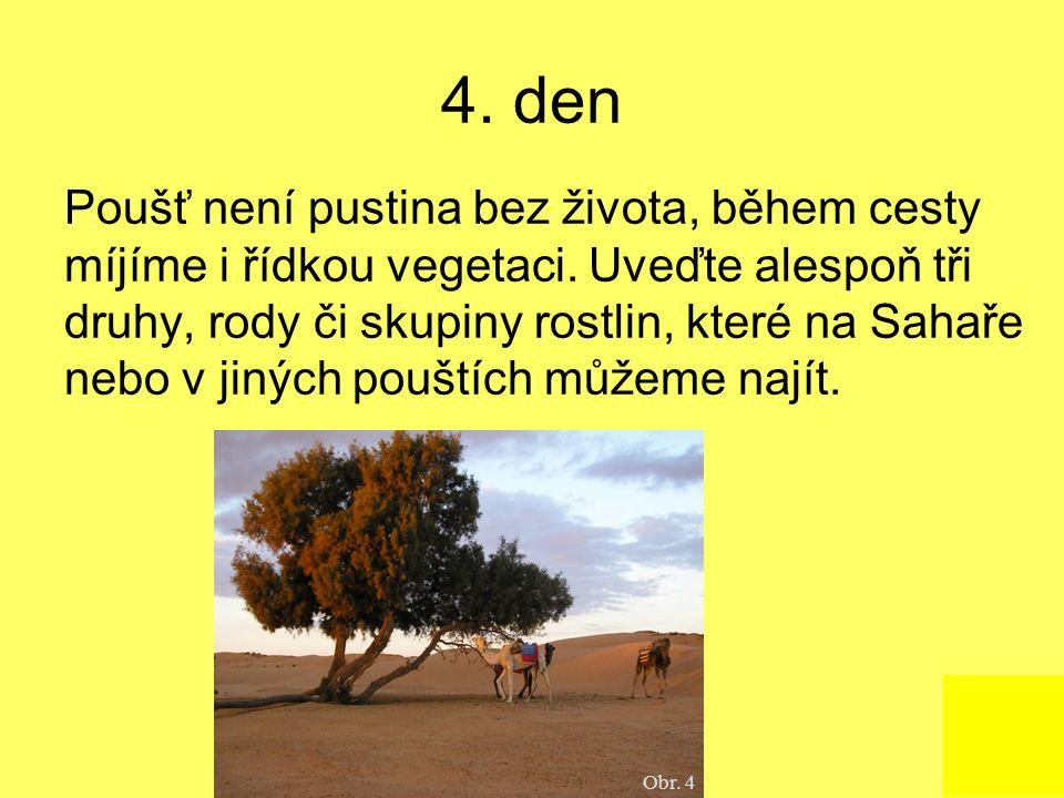 4. den Poušť není pustina bez života, během cesty míjíme i řídkou vegetaci. Uveďte alespoň tři druhy, rody či skupiny rostlin, které na Sahaře nebo v