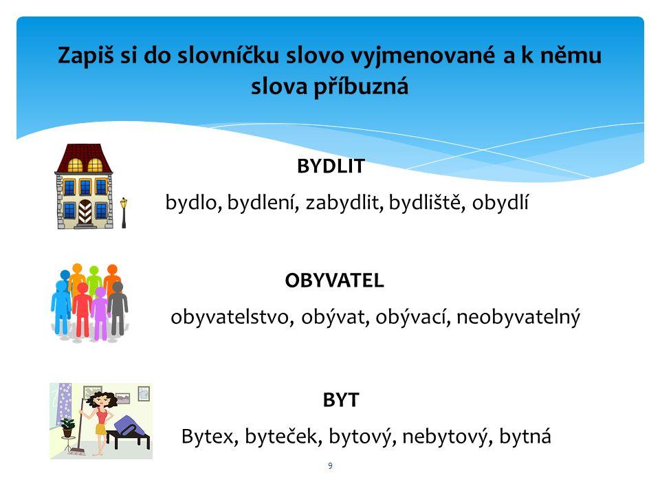 9 Zapiš si do slovníčku slovo vyjmenované a k němu slova příbuzná BYDLIT OBYVATEL BYT bydlo, bydlení, zabydlit, bydliště, obydlí obyvatelstvo, obývat, obývací, neobyvatelný Bytex, byteček, bytový, nebytový, bytná