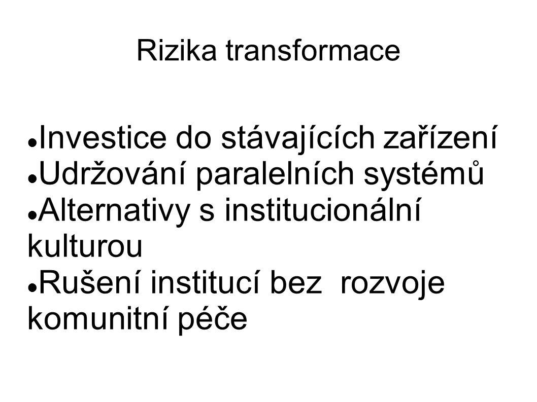 Rizika transformace Investice do stávajících zařízení Udržování paralelních systémů Alternativy s institucionální kulturou Rušení institucí bez rozvoje komunitní péče