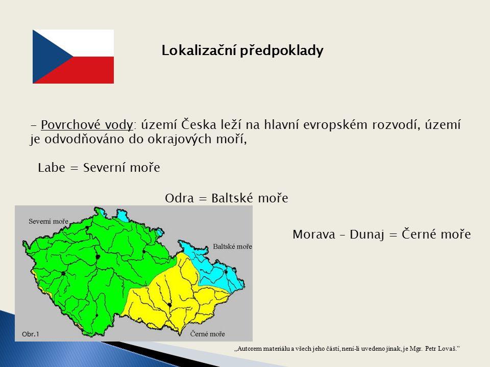 """""""Autorem materiálu a všech jeho částí, není-li uvedeno jinak, je Mgr. Petr Lovaš."""" - Povrchové vody: území Česka leží na hlavní evropském rozvodí, úze"""