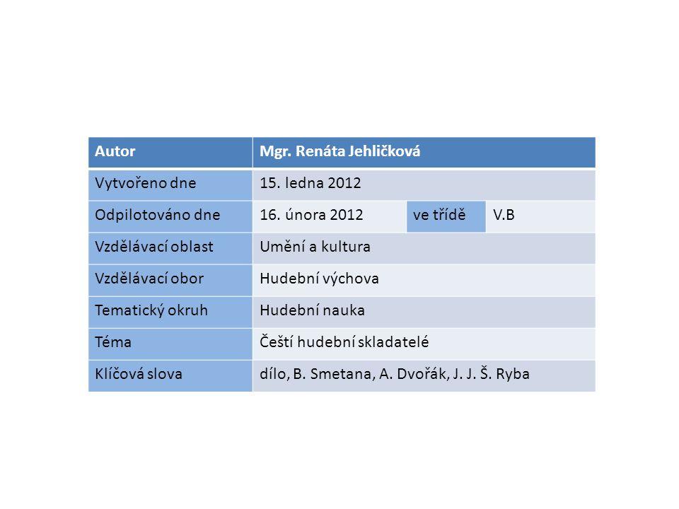 AutorMgr. Renáta Jehličková Vytvořeno dne15. ledna 2012 Odpilotováno dne16.