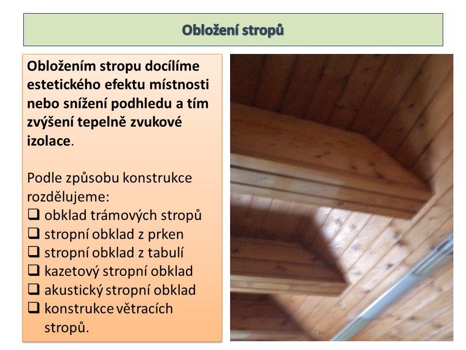 Obložením stropu docílíme estetického efektu místnosti nebo snížení podhledu a tím zvýšení tepelně zvukové izolace.