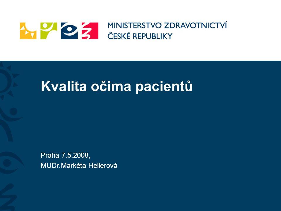 Kvalita očima pacientů Praha 7.5.2008, MUDr.Markéta Hellerová