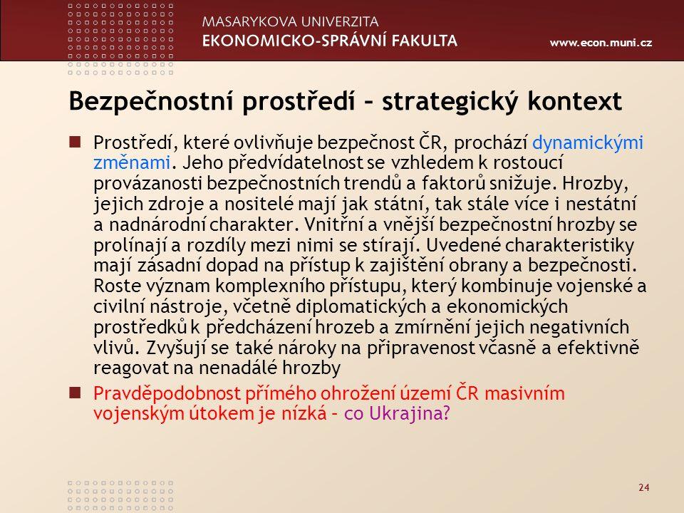www.econ.muni.cz 24 Bezpečnostní prostředí – strategický kontext Prostředí, které ovlivňuje bezpečnost ČR, prochází dynamickými změnami.