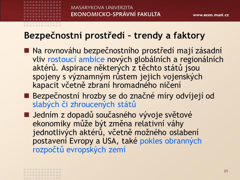 www.econ.muni.cz 25 Bezpečnostní prostředí – trendy a faktory Na rovnováhu bezpečnostního prostředí mají zásadní vliv rostoucí ambice nových globálních a regionálních aktérů.