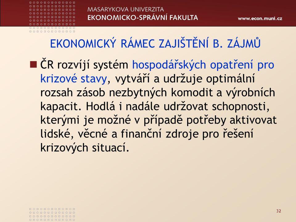 www.econ.muni.cz 32 EKONOMICKÝ RÁMEC ZAJIŠTĚNÍ B.