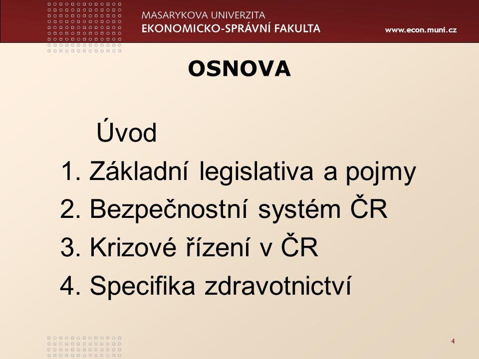 www.econ.muni.cz 4 OSNOVA Úvod 1. Základní legislativa a pojmy 2.