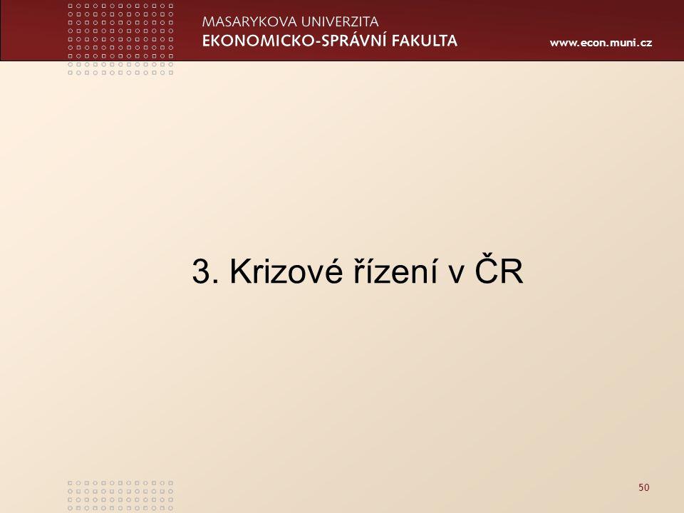 www.econ.muni.cz 50 3. Krizové řízení v ČR