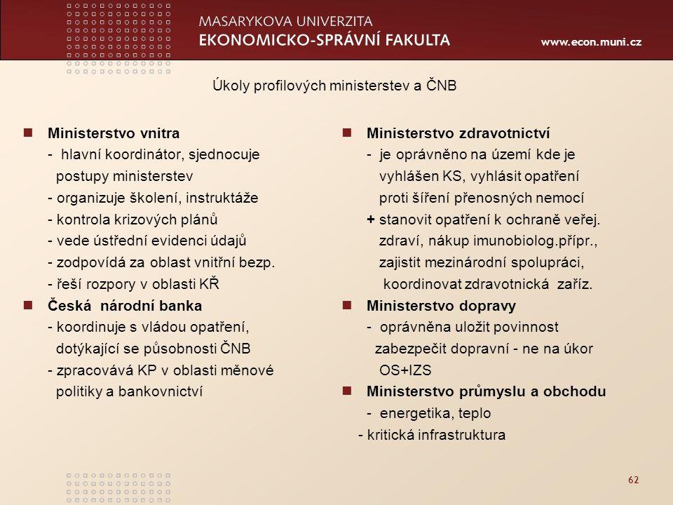 www.econ.muni.cz 62 Ministerstvo vnitra - hlavní koordinátor, sjednocuje postupy ministerstev - organizuje školení, instruktáže - kontrola krizových plánů - vede ústřední evidenci údajů - zodpovídá za oblast vnitřní bezp.