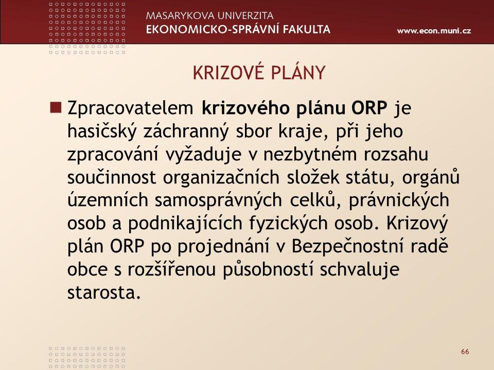www.econ.muni.cz 66 KRIZOVÉ PLÁNY Zpracovatelem krizového plánu ORP je hasičský záchranný sbor kraje, při jeho zpracování vyžaduje v nezbytném rozsahu součinnost organizačních složek státu, orgánů územních samosprávných celků, právnických osob a podnikajících fyzických osob.