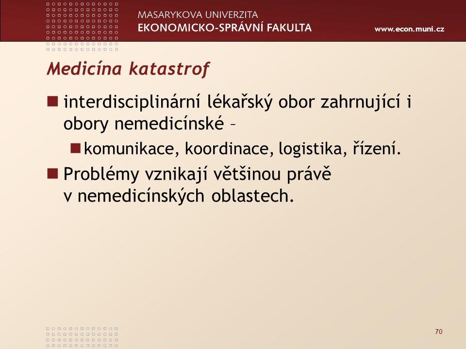 www.econ.muni.cz Medicína katastrof interdisciplinární lékařský obor zahrnující i obory nemedicínské – komunikace, koordinace, logistika, řízení.