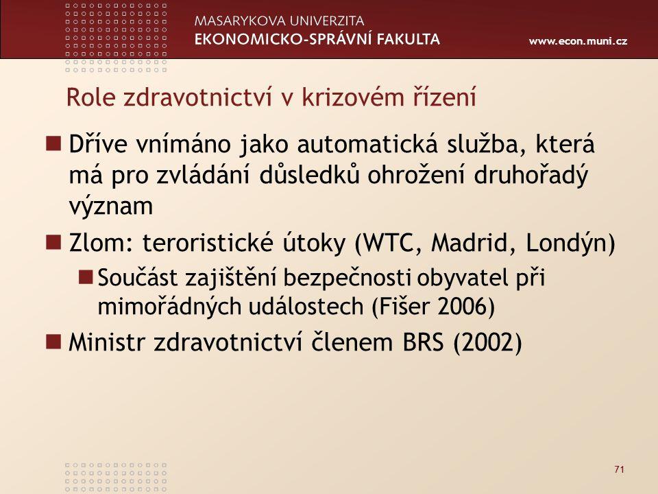 www.econ.muni.cz Role zdravotnictví v krizovém řízení Dříve vnímáno jako automatická služba, která má pro zvládání důsledků ohrožení druhořadý význam Zlom: teroristické útoky (WTC, Madrid, Londýn) Součást zajištění bezpečnosti obyvatel při mimořádných událostech (Fišer 2006) Ministr zdravotnictví členem BRS (2002) 71