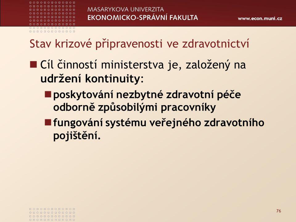 www.econ.muni.cz Stav krizové připravenosti ve zdravotnictví Cíl činností ministerstva je, založený na udržení kontinuity: poskytování nezbytné zdravotní péče odborně způsobilými pracovníky fungování systému veřejného zdravotního pojištění.