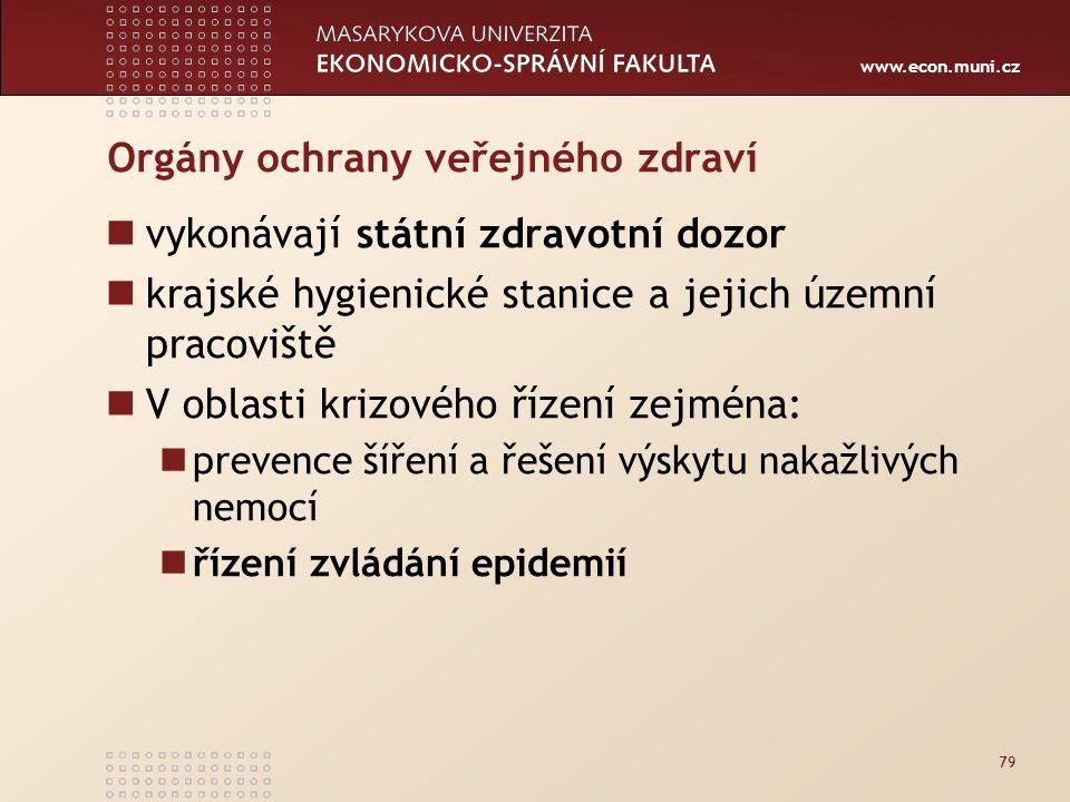 www.econ.muni.cz Orgány ochrany veřejného zdraví vykonávají státní zdravotní dozor krajské hygienické stanice a jejich územní pracoviště V oblasti krizového řízení zejména: prevence šíření a řešení výskytu nakažlivých nemocí řízení zvládání epidemií 79