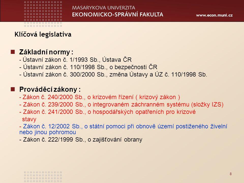 www.econ.muni.cz 39 BEZPEČNOSTNÍ SYSTÉM ČR  Prezident, parlament, vláda  Bezpečnostní rada státu a její pracovní orgány  Ústřední správní úřady  Orgány územní samosprávy (kraje a obce)  Právnické a fyzické osoby